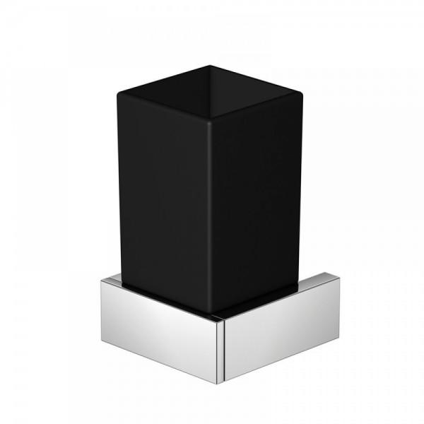 Steinberg Серия 460 Стаканчик с держателем 70 х 70 х 120мм, из латуни, чёрное сатин. стекло, хром 460 2002