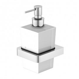 Steinberg Серия 420 Держатель с дозатором для жидкого мыла, белое сатин. стекло, хром 420 8001