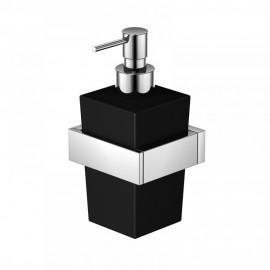 Steinberg Серия 460 Держатель с дозатором для жидкого мыла, чёрное сатин. стекло, хром 460 8002