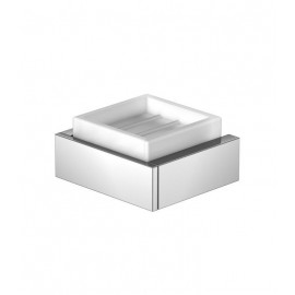 Steinberg Серия 460 Мыльница настенная, 105 x 105 x 45мм, белое сатин. стекло,из латуни, хром 460 2201