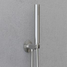 """Steinberg Серия 100 Brushed Nickel Душевой набор с интегрир. подсоединением шланга 1/2"""", с настенным держателем, с металлическим шлангом 1500мм, с защитой от обратного потока, хром 100 1670 BN"""