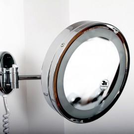 Steinberg Серия 650 Косметическое зеркало с LED подсветкой, c выключателем 230V, 1x /3x yвеличениe, хром 650 9020