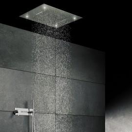 Верхний душ потолочный 800х800 мм с 3-мя режимами, подсветкой, Easy Clean, полированная нержавеющая сталь 390 6832