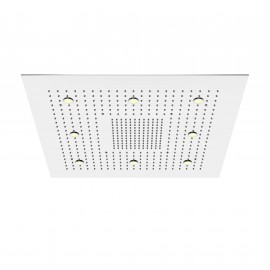 Верхний душ потолочный 800х800 мм с 2-мя режимами, подсветкой, Easy Clean, полированная нержавеющая сталь 390 6822